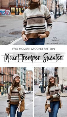 Mount Tremper Sweater pattern by Two of Wands sueter Mount Tremper Sweater — Two of Wands Pull Crochet, Mode Crochet, Knit Crochet, Crochet Tops, Crochet Shrugs, Cardigan Au Crochet, Crochet Sweaters, Crochet Jumpers, Crochet Pullover Pattern