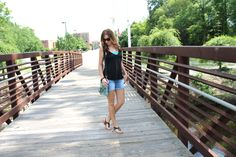 A Shorts Story {Fashion, Floss and Lip Gloss blog} casual spring summer warm weather outfit, loose black tank, turquoise lace bandeau, layers, shorts, indigo rein, betseyville sequin cross body purse, juicy couture sunnies, fashion style blogger, bridge, outdoor photo photography, weekend wear