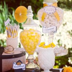 Yellow themed candy buffet