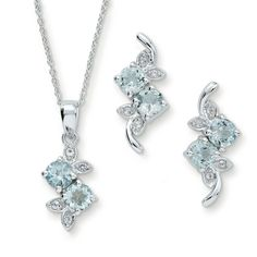 925 Sterling Silver Round Cut Aquamarine & White CZ Leaf Pendant & Earrings Set #adorablejewelry #Pendant #AnySpecialDay