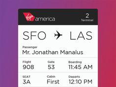 virgin america boarding pass - Google Search