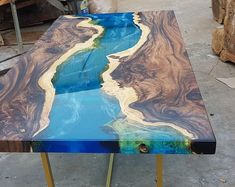 Epoxy resin transparent coffee table handcrafted custom fish draw most beautiful table (made to order) / dining table - Epoxy resin transparent coffee table handcrafted custom Epoxy Wood Table, Epoxy Resin Table, Wooden Tables, Diy Epoxy, Wood Table Design, Resin Furniture, Furniture Design, Fine Furniture, Logs