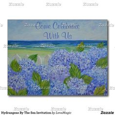 Hydrangeas By The Sea Invitation Postcard