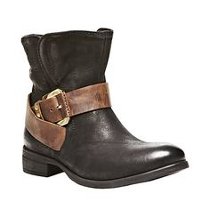 BELTON BLACK LEATHER women's bootie flat casual - Steve Madden  LOVE these boots!!!!