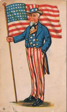Liberty's Sandwich Bread Vintage Trade Card with Uncle Sam and USA Flag Patriotic Symbols, Patriotic Images, Patriotic Crafts, Patriotic Decorations, Vintage Cards, Vintage Postcards, Vintage Images, American History, American Flag