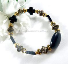 Black Cross Metallic Bracelet Black Agate by EnchantedRoseShop