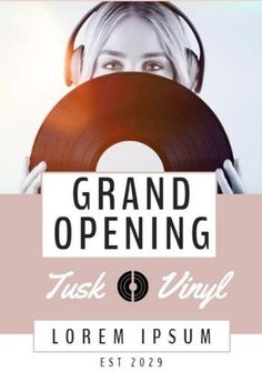 A creative grand opening templates. A background image of a girl recording music with black text displaying grand opening. Vinyl Poster, Grand Opening, Lorem Ipsum, Background Images, Good Music, Templates, Cool Stuff, Creative, Black