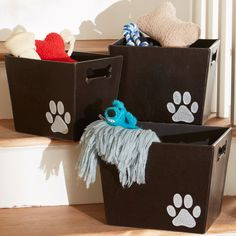 Keep Pet Supplies Toys And Other Accessories Stored And Organized In This  Paw Print Decorative Storage