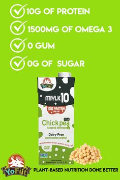With 10 times more protein than almond milk, our Miylk vegan milk, is one of the best milk subtitutes. Milk Alternatives, Vegan Milk, Plant Based Milk, Plant Based Nutrition, Vegan Smoothies, Flaxseed, Almond Milk, High Protein, Dairy Free