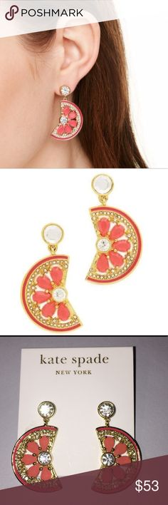 Kate Spade Jeweled Fruit Slice Earrings 12k Kate plated gold with clear crystals and coral enamel. Dangles / studs. kate spade Jewelry Earrings