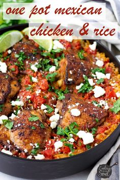 Make this one pot Mexican chicken and rice for dinner! It's the perfect one pot weeknight dinner for a comforting meal. Mexican Chicken And Rice, Chicken And Rice Dishes, Mexican Chicken Recipes, Risotto Recipes, Rice Recipes, Healthy Recipes, Goose Recipes, Mexican Rice Seasoning, Chicken Thigh Seasoning