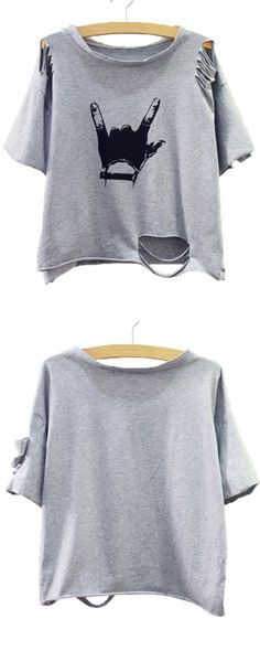 Do not click if you don't wanna buy. For you will wanna buy if you click! Grey Gesture Print Distressed T-shirt. Loce shein style.
