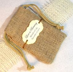 Burlap favor bags  Personalized  Love is brewing  by Pedoozle