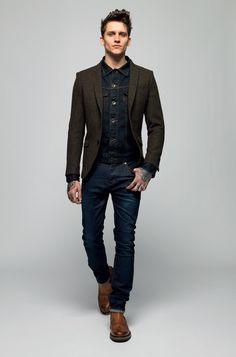 Superdry AW13 - brown wool sport coat, dark denim jacket/shirt, dark denim jeans, brown brogue boot