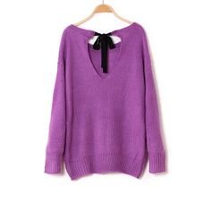 Loose batwing sweater with back bow [297]  from Socishop