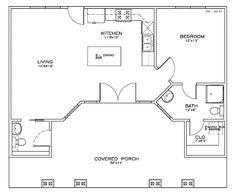 Beach Style House Plan - 1 Beds 2 Baths 723 Sq/Ft Plan #8-155 Floor Plan - Main Floor Plan - Houseplans.com