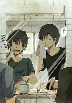 Rin, Yukio, Okumura twins, brothers, brushing teeth, mirror, bathroom, text; Blue Exorcist
