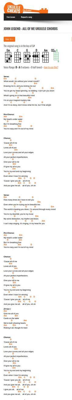 SONGS—John Legend all of me ukulele chords Ukulele Tuning, Ukulele Chords Songs, Cool Ukulele, Ukulele Tabs, Lyrics And Chords, Guitar Songs, John Legend, Sara Bareilles, Jason Mraz