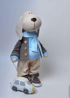 Купить Собака. Текстильная игрушка. - коричневый, голубой, бежевый, собака, текстильная собака