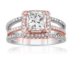 Two-tone (white and pink gold) even though im married and have a beautiful ring i had to repin this is too nice!