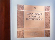 Hand-finished copper donor recognition sign at Johns Hopkins School of Nursing designed by Cloud Gehshan Associates