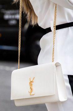 Designer Brands   YSL White and Gold Bag ~ #designerbrands #YSL #YSLbag