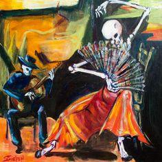 Flamenco Fan Painting - Flamenco Fan Fine Art Print - Sharon Sieben