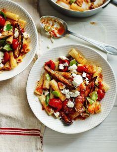 Rigatoni with aubergine, tomato, feta and basil sauce - a gorgeous veggie main in 30 minutes