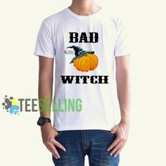 BAD WITCH T-SHIRT UNISEX Price: 15.50 #shirt Funny Shirt Sayings, Shirts With Sayings, Funny Shirts, Cute Graphic Tees, Graphic Shirts, The Worst Witch, Workout Shirts, How To Look Better, Unisex