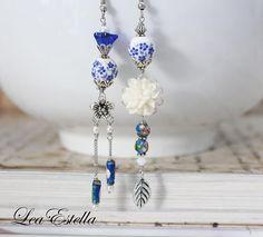 Blu floreale blu cinese blu Oriental orecchini orecchini blu