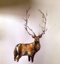 Deer with stag. Painting.  Water color By Nolita jpn