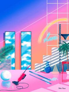 "Yoko Honda, ""Love House,"" retro-80s inspired art"