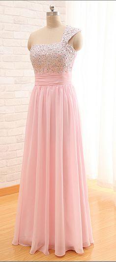 One-shoulder Beaded Bodice Chiffon Floor-length Prom Dress