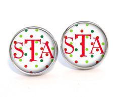 Monogram Stud Earrings 345 by PishPoshPendants on Etsy, $8.95