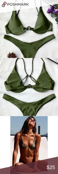 NWT Green Plunge Underwire Bikini 👙 Sexy plunging collar thong bikini set features soft padding, underwire support, adjustable spaghetti straps and high cut design. Brand new, never been worn, still has tags. Size Small, website also describes it as a size 4. Love the style but too small for me. Would best fit a 32-34 A-C and a 24-26 waist. Picture of girl wearing suit is not exact one, posted so you can see how it fits.   🌟MAKE ME AN OFFER!🌟 🚫 NO LOW-BALL OFFERS! Zaful Swim Bikinis