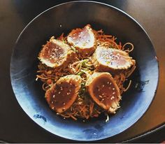 What a fine looking meal .. #Rare #Seared #Tuna #Tataki with #sesame #ginger #vinaigrette over our #soba #noodle #salad (#nap #cabbage #carrots #scallions #peanuts ) #dairyfree by chappaqua_station