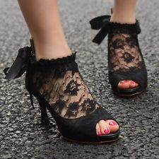Victorian Lace Black Ribbon Mid Heels Platform Peep Toe Court Ankle Shoes US 6