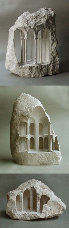 architecture - New Miniature Architectural Structures Carved Into Raw Stone by Matthew Simmonds Illusion Kunst, Art Pierre, Art Du Monde, Instalation Art, Art Sculpture, Metal Sculptures, Bronze Sculpture, Abstract Sculpture, Colossal Art