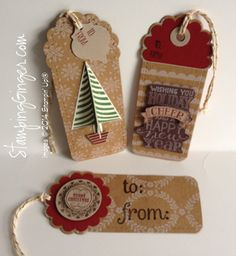 Folk Art tags using Stampin' Up! Under the Tree Specialty Designer Paper (2014).