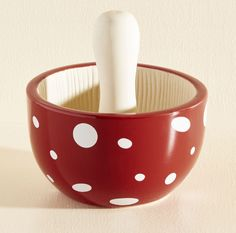 """A mushroom-shaped <a href=""""http://www.modcloth.com/shop/tabletop/no-truffle-at-all-mortar-and-pestle"""" target=""""_blank"""">mortar and pestle</a> any gnome would love to have in their kitchen."""