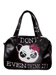 Killer Panda Don't Even Think It Black Shoulder Bag