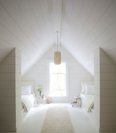 A Fresh Approach to Bedding, Furniture, and Home - Summer white – attic room – pendant – shiplap – white room - Attic Bedrooms, Coastal Bedrooms, Modern Bedroom, Attic Renovation, Attic Remodel, Attic Playroom, Attic Office, Garage Attic, Attic Library