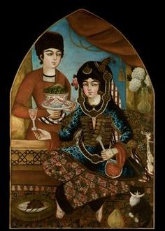 PORTRAIT OF A PRINCESS AND AN ATTENDANT, ZAND IRAN, 2ND HALF 18TH CENTURY