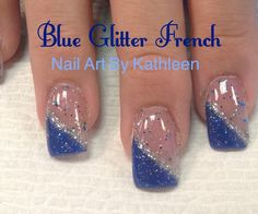 Blue Glitter French Nails
