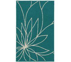 Grand Floral Dorm Rug - Teal and Ivory Dorm Essentials Dorm Room Decorations