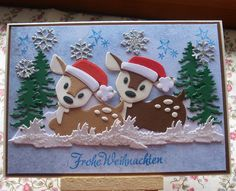 Weihnachten - Karte Waldweihnacht - ein Designerstück von Wollzottel bei DaWanda