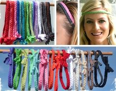 Comfortable Braided Headbands - another way to use up those old kiddo camp tshirts...
