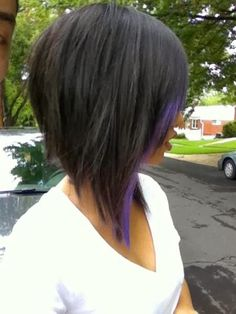 Long Inverted Bob with a small purple streak. i wish i had the guts to cut my hair this short!