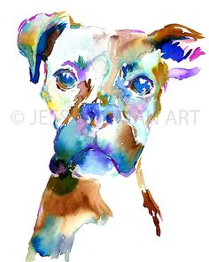 Print of Watercolor Painting Lacey the Boxer 8 by ArtbyJessBuhman