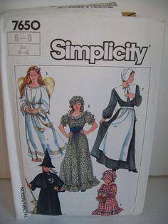 Simplicity 7650 Child Witch Angel Pilgrim Prairie Girl Costume Pattern Size 6 8